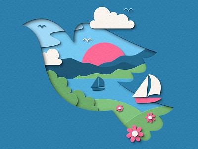 Peace peaceful peace landscape bird digital papercraft papercut paper craft paper art paper cut paper illustration