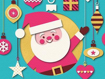Ho Ho Ho! character papercut paper craft paper art festive card gold decorations baubles ornaments santa christmas illustration