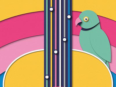 London Stories - Poster Prize for Illustration 2019 london underground transport photoshop paper craft papercut jimi hendrix guitar music parakeet birds poster design illustration