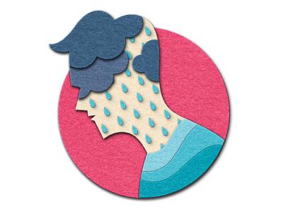 Vital Magazine - Help at Hand workplace mental health weather fuzzy felt felt rain wellbeing silhouette man people design magazine editorial illustration