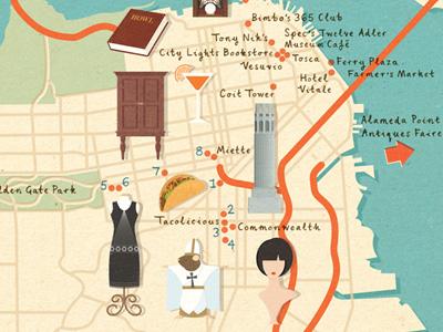 Homes & Antiques - San Francisco map art design illustration map usa san francisco antiques mouse pope taco dress wig book cocktail