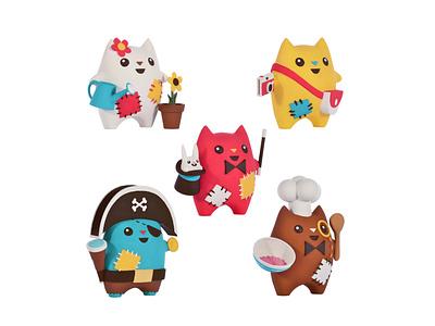 Oddcats! 3D Sculptures - Kawaii Edition design toys toy design oddcats licensing kids kawaii illustration cute character design cats brand animation 3d art 3d sculpting 3d printed 3d design