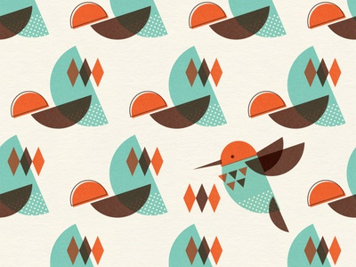Brid Century Modern - Bird I licensing teal turquoise textured abstract geometric vintage retro midcentury mid century modern bird surface pattern textile design surface design pattern pattern design illustration