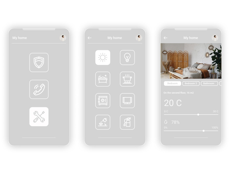 Home Monitoring Dashboard minimal app ui design dailyui 100daychallenge