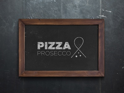 Pizza & Prosecco Logo simple minimal graphics ampersand prosecco pizza brand branding logo