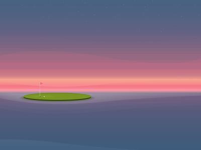 January 19th #1hourdesign 1hourdesign vector illustration sunset golf transparency shadow shading colour palette learning random