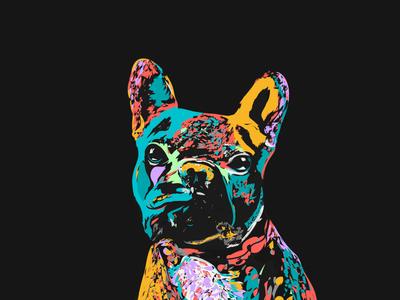 Pickle the French Bulldog invite dribbble new design illustration pup neon colour space negative dog bulldog