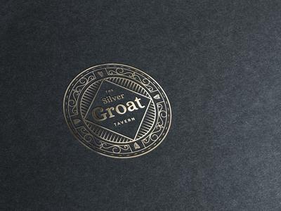 The Silver Groat Tavern - Bar logo & branding coin circle tavern bar brand pub logo gold foil luxury bar design logo branding