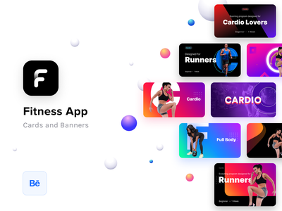 Fitness app cards and banners prototypes (On Behance) guidelines ios illustration fitness logo fonts images graphics banners cards app design ui ux exercise running cardio lifestyle camera diet gym fit app fitness product