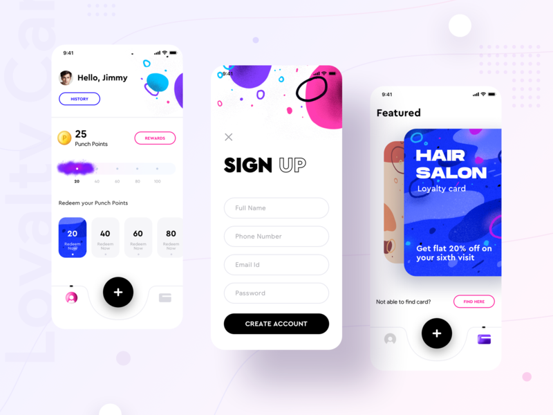 Loyalty cards collection product {Punch app} advertisement logo bonus gift reward create account login signup design cards loyalty card loyalty ux user ui illustration app sharma neel prakhar