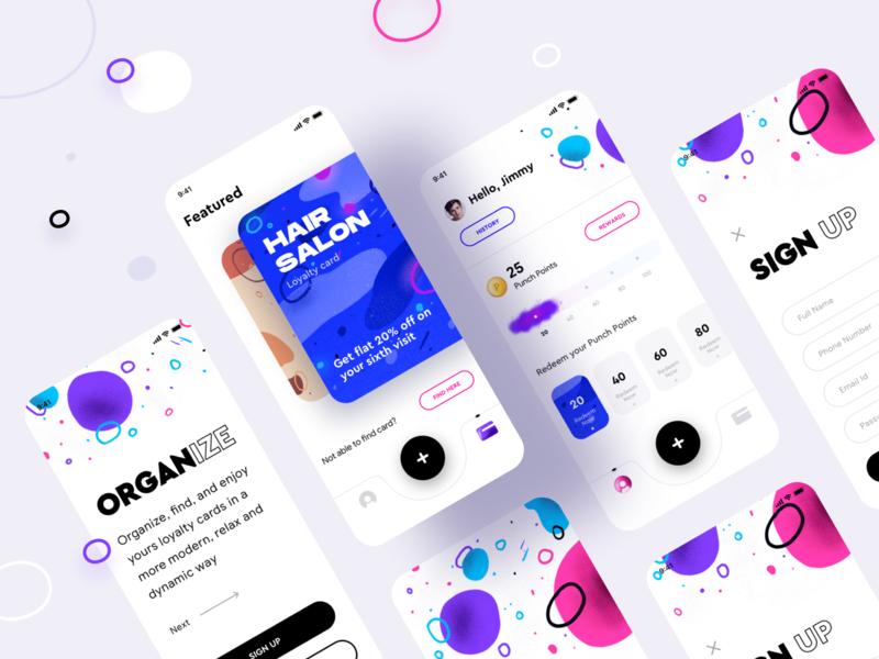 Punch app all screens version 1 email id password phone number user address create account login signup pattern texture loyalty card cards fonts ux vector logo branding illustration ui app sharma neel prakhar