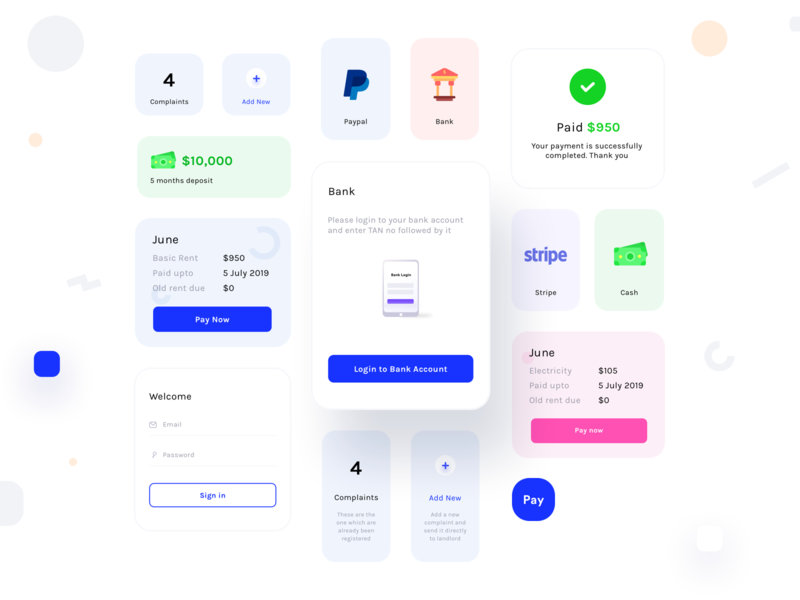 Design components from Tenant app on BEHANCE flat apartment electricity rent bank paypal stripe cash paynow login icons illustration notification popup research users interface design application designer design app ui ux sharma neel prakhar components design