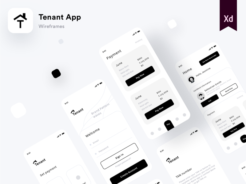 Tenant App featured on Behance stripe paypal cash banking call sms message email id uiuxdesigner payment account bank signin interface application wireframes interaction animation interaction princpalformac sketch xd featured behance sharma neel prakhar