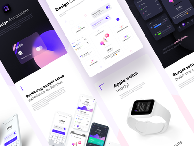 Revolut version 1 design assignment payment card budget setup illustrations icons day night mode dark light ui ux kit pricing iphone clay mockup components trending inspiration digital design ui ux casestudy presentation pencil watch ios sharma neel prakhar