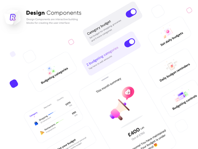 Revolut version 1 design components brand identity graphics budget reminder restaurant shopping casestudy apple ios switch icons illustrations presentation assignment ui ux components design app sharma neel prakhar