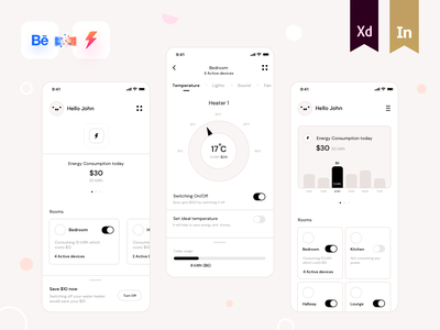 Wireframes for Energy Monitor App interaction xd sketch bulb power energy heater knob ui kit smart home rooms design art ios switch research wireframes sharma neel prakhar presentation behance