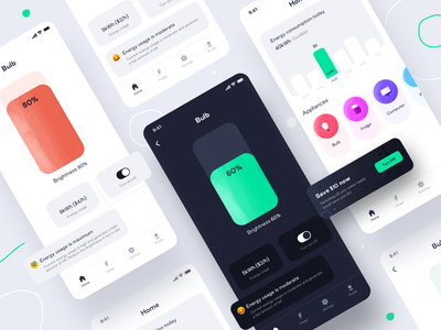 Household Energy Monitor : Prototype 3 (Design Assignment) clean minimal 2020 switch dark light day night user profile settings grid energy usage project designer ui kit smarthome ux branding design share icon illustration ui sharma neel prakhar