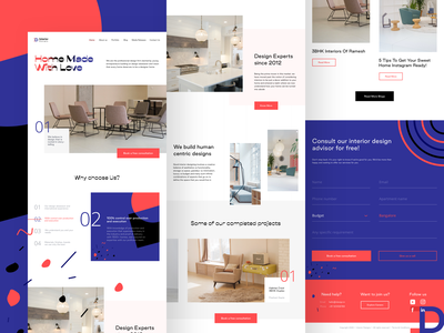 Interior design firm website testimonial interior design ideas interior architecture modern minimal website 2020 home book interior designer marketing campaign linkedin youtube facebook instagram video projects grid header interior design illustration web sharma neel prakhar