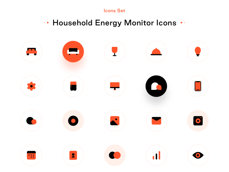 Household energy monitor icons set contacts calendar smart mobile user interface lounge kitchen rooms behance ui ux design figma sketch cloud sharma neel prakhar marketing gallery apple icon kit icons smart home