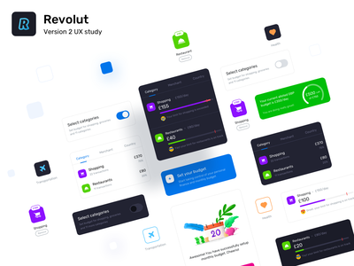 Revolut version 2 components budget tracking spending savings shopping restaurant expense mobile application interface sketch figma icons credit debit card plastic virtual card payment transaction designer components typography vector branding design illustration app ui sharma neel prakhar