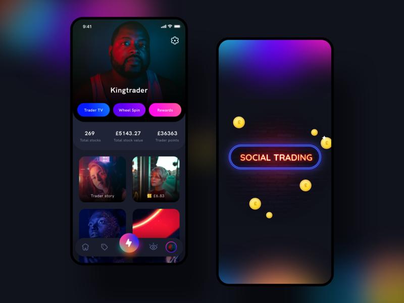 Social trading platform android app design earn buy sell invest trading trade social figma xd sketch vector branding icon android ios illustration app ui sharma neel prakhar