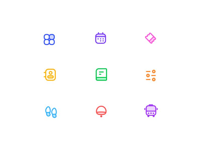 Dashboard icons menu bar calendar walk bus car pin point maps gps icons behance presentation website dashboard ux vector branding design illustration ui app web sharma neel prakhar