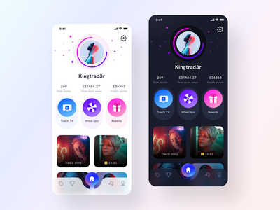 Trad3r App Profile Exploration transition animation interface game interaction uiux profile design investment social trading dark light mode branding user profile icon ios app illustration web ui sharma neel prakhar