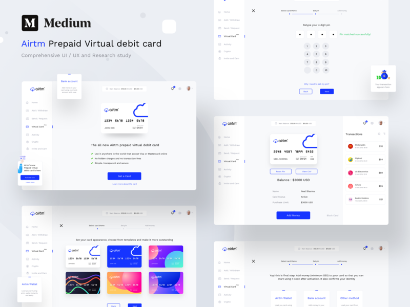 Airtm complete UX, UI and research study on Medium money wallet account dashboard security cards research ux design figma sketch xd vector logo ui web illustration app article medium sharma neel prakhar