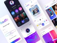 Trad3r All screens login home profile gradients earn investment game stock audio sound music player light dark mode ux vector logo branding app illustration ui sharma neel prakhar