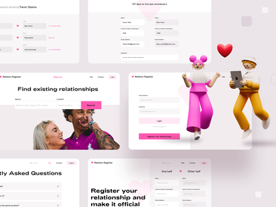 Relation register remaining pages faq contact web website create account login signin dashboard ux account relation couple profile design search icons 3d illustration web app ui sharma neel prakhar