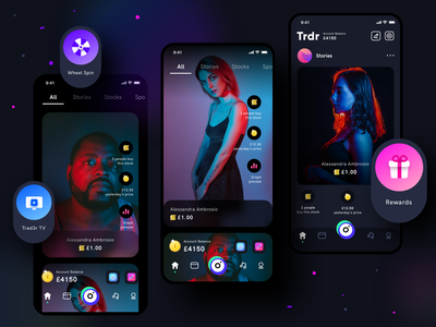 Trad3r Home page exploration stock homescreen dark mode light interface illustration investment money earn save group people community trading social interface experience ux application design application app ui sharma neel prakhar