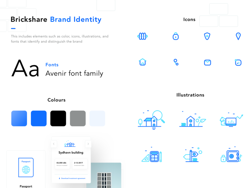 Brickshare Brand Elements dashboard portfolio website interaction icons illustrations styleguide uidesign ux interface portfolio invest logo icon branding neel prakhar sharma user illustration web ui