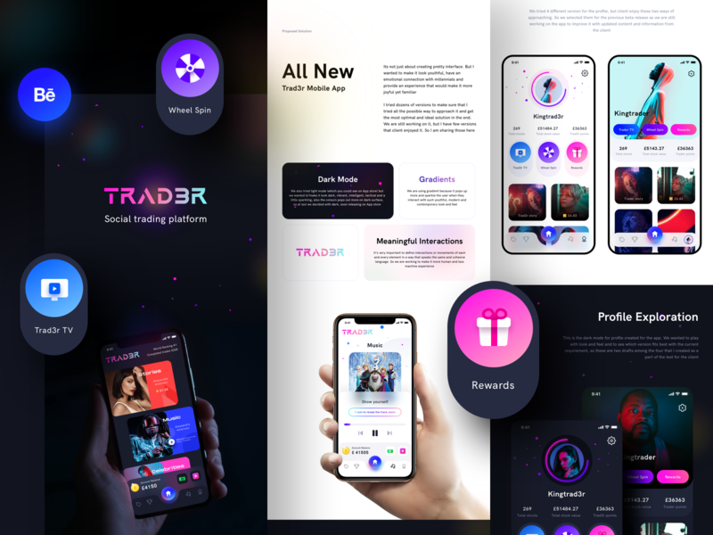 Trad3r case study BEHANCE stock market finance financial trader business accounting behance community social ui ux ios icon design logo illustration trading stock sharma neel prakhar