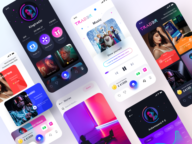TRAD3R App UI design live on Behance trade stocks social media behance rewards tv music photoshop illustrator figma sketch xd ios android app store play ux dark light mode group community trading social app ui sharma neel prakhar