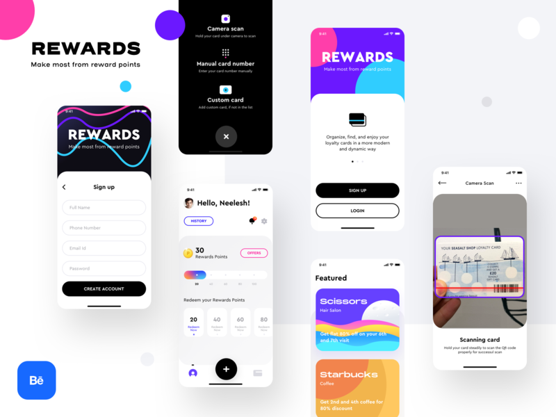 Rewards app live on Behance login sign up behance presentation principalformac figma sketch application design offer discount coupon loyalty cards ui ux branding icon ios illustration app sharma neel prakhar