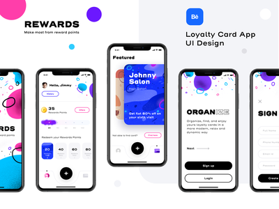 Rewards app version 2 (Project live on Behance) offers discount card app design loyalty illustrator sketch figma xd procreate create account signup login dashboard design icon ui ios illustration app sharma neel prakhar