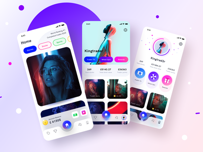 Trad3R app live on BEHANCE music coupons rewards ios android settings illustration icon ui ux social media trading profile sports celebrity stocks community app design application social sharma neel prakhar