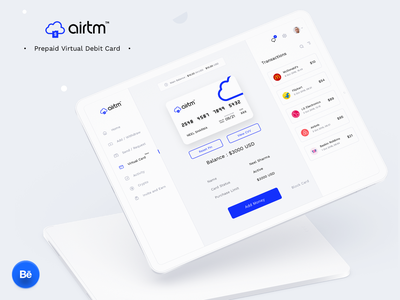 AIRTM virtual card complete case study on Behance ux design transactions card case study behance minimal 2020 web website ipad mockup ios dashboard app web ui design illustration sharma neel prakhar