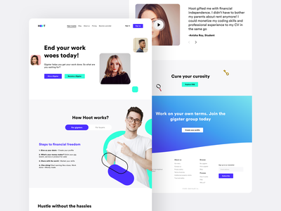 Unigigs HOW IT WORKS page web design college student job work subscribe search hiring hire freelancer gigs ux icon ui illustration website web sharma neel prakhar