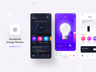 Energy monitor case study on BEHANCE (Ver 2 and 3) notification power consumption android computer bulb profile settings energy dashboard ux icon app ui ios illustration smart home behance sharma neel prakhar