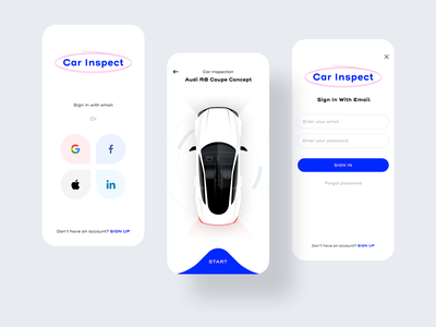 Car Inspect App rental audi application apple facebook linkedin google signup inspect inspection car login social ux design ui illustration app sharma neel prakhar