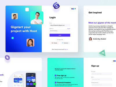 Unigigs Login and Sign up screens finance graphic design user interface experience ui ux college earning teacher students freelance dashboard web app website sketch xd figma createaccount signup login sharma neel prakhar