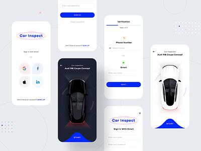 Car Inspect App Prototype chat login social light dark mode minimal ux automobile automotive inspection car dashboard icon illustration android ios ui app sharma neel prakhar