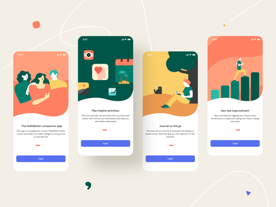 Hellobetter onboarding exploration figma sketch xd problems mental psychological support course online mobile ux ui app design ios icon illustration healthcare mental health medical sharma neel prakhar