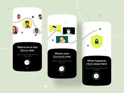 Onboarding for a social app 2 (WIP) privacy network ux walkthrough onboarding chat friends people group social media social design icon ios illustration app ui sharma neel prakhar