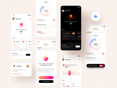 Energy monitor case study on BEHANCE (Ver 1) graphic ux behance cards device energy power android apple mobile dashboard smartwatch smarthome ios illustration app ui sharma neel prakhar