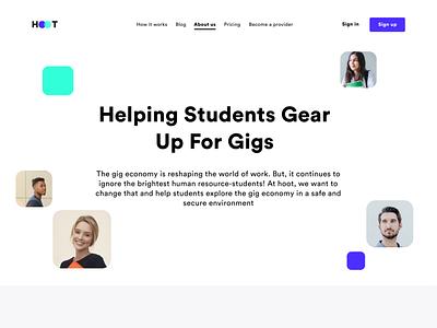 Unigigs About Us page web app web design pricing price illustration icon ideas about us school college freelance teacher student product website web ui ux ui sharma neel prakhar