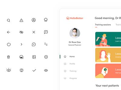 Hellobetter icons subscription body sleep fitness health mental branding logo design web illustration app ui product design uiux hellobetter healthcare sharma prakhar neel