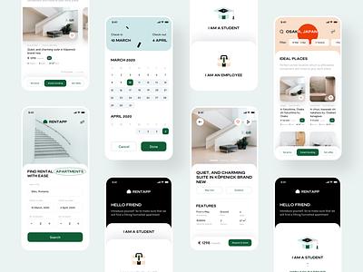 Rentapp all screens behance product user experience rent apartment digital design ux ineraction graphic design branding logo design web illustration app ui sharma neel prakhar