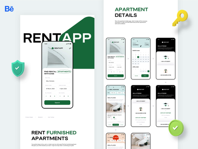 Rentapp case-study live on Behance graphics ux search property apartment rental branding logo web illustration ui app design product application mobile behance sharma neel prakhar